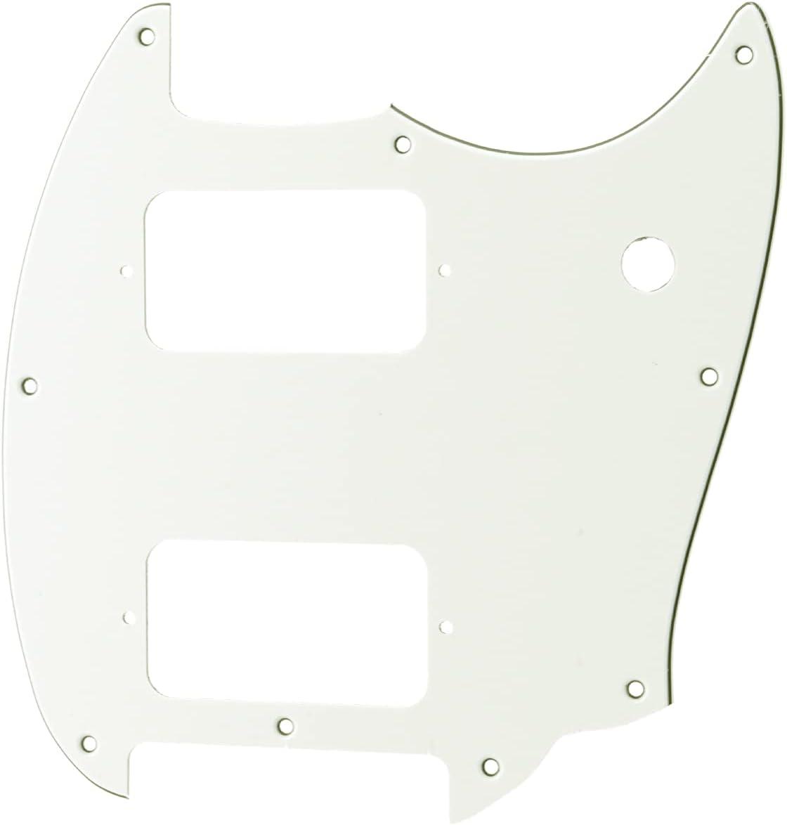 Musiclily Pro 9 Agujero Round Corner HSH Golpeador Pickguard para Guitarra Eléctrica Squier Bullet Series Mustang, 3 capas Blanco