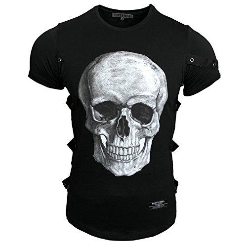 Rusty Neal Herren T-Shirt Rundhals Totenkopf Skull Applikationen RN-15150, Größe:M, Farbe:Schwarz