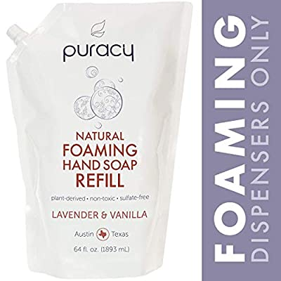 Puracy Natural Foaming Hand Soap Refill, Sulfate-Free Hand Wash, Lavender & Vanilla, 64 Ounce