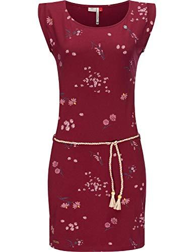 Ragwear Damen Kleid Dress Sommerkleid Jerseykleid Freizeitkleid Strandkleid Tamy Flowers Wine Red Gr. M