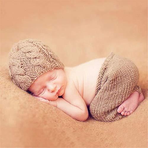 Lzcaure Baby-Foto-Kostüm Kinderfoto Kleidung, Baby Hundert-Tage-Foto Kleidung, Handgestrickte mit Watte Garn Fotografie Prop (Color : Khaki, Size : One Size)