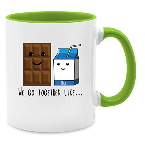 Valentinstag Partner Tassen - We go together like. Chocolate and Milk - Unisize - Hellgrün - Q9061 - Kaffee-Tasse inkl. Geschenk-Verpackung