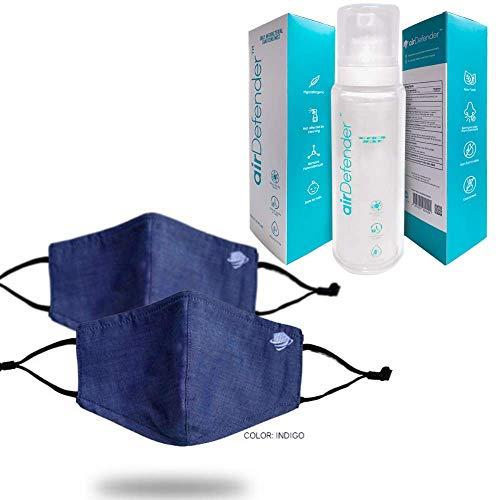 airDefender Premium 3 Ply Cloth Face Masks & 24 Hours Alcohol Free Antibacterial Spray