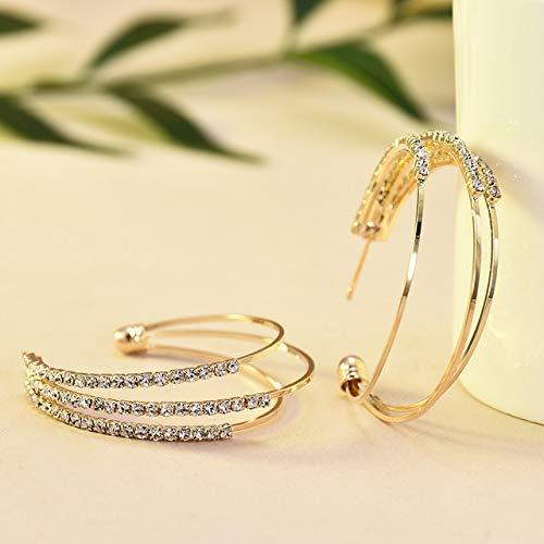 ZYJ Nuevo diseño de joyería Creativa Pendientes de aro de Cristal Elegantes de Alto Grado Pendientes de Oro Redondos Pendientes para Mujer,Gold