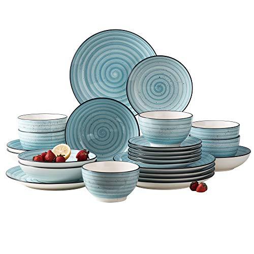 vancasso Bonbon Blue Dinner Set- 24 Pieces Porcelain Dinnerware Set, Handpainted Spirals Pattern Ceramic Combination Set with Dinner Plate/Dessert Plate/Soup Plate/Bowl, Service for 6