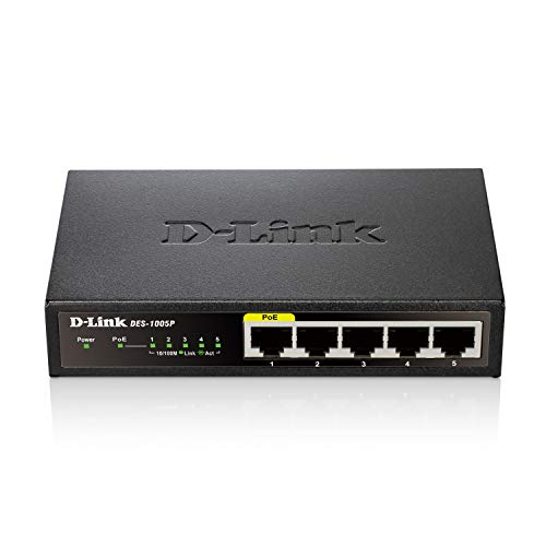 DLink Ethernet PoE Switch 5 Port Unmanaged with 4 PoE Ports Fanless Desktop or Wall Mount Plug and Play DES1005P Black