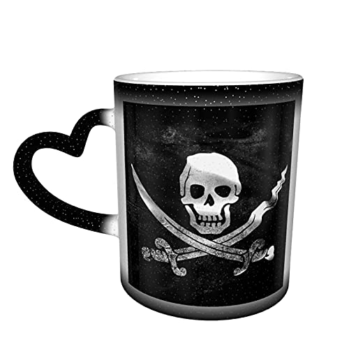 maichengxuan Taza de café unisex con diseño de calavera y huesos cruzados con bandera de pirata negra personalizada, sensible al calor, color cambiante, taza de té de leche y tazas de café mágicas