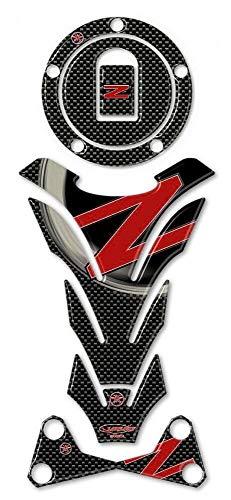 Kit de Pegatinas en Gel 3D Compatible con Kawasaki Z750-Z1000 hasta 2006 - Carbono Rojo