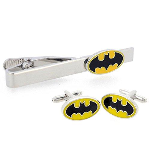 Batman Gelb und Schwarz Manschettenknöpfe und Krawatte Clip Set