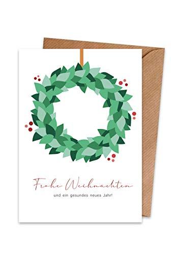 Weihnachtskarten (15er Set) Kranz – hochwertige moderne Klappkarten & Umschläge (Kraftpapier) – partielle Glanzlack-Veredelung – einzigartiges Design