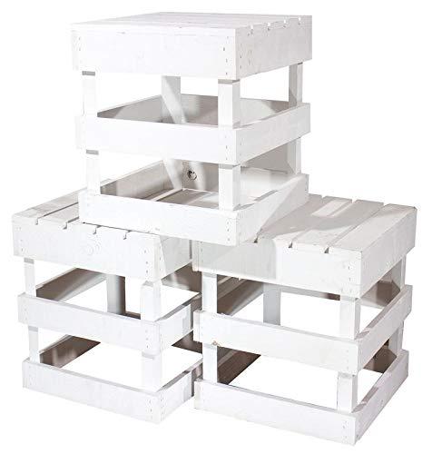 Kontorei® Weißer Hocker aus Holz 42cm x 42cm x 45cm 3er Set Sitzgelegenheit Weiss Obstkisten Stuhl Vintage Shabby chic Apfelkisten Weinkisten aus dem Alten Land Vintage Dekoration Tisch