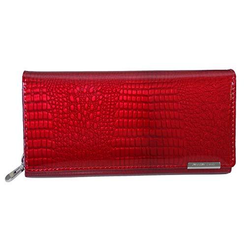 XXL Damenbörse von Jennifer Jones - sehr feine Lack Leder Börse Damengeldbörse Portemonnaie Geldbörse (Rot Kroko Style) - präsentiert von ZMOKA®
