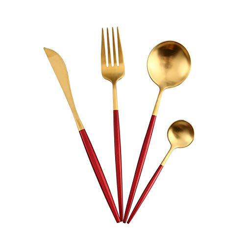 Cubiertos de oro rosa conjunto de cuchillos de mantequilla Chopstick Steak Cuchillo Tenedor Cabo Cucharada Cucharada Casa Partido Viaje Boda Noble Vajilla (Color : Red gold)