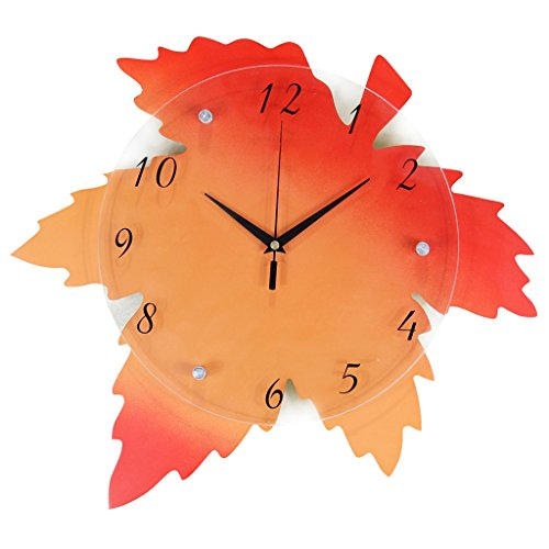 horloge murale FANJIANI Creative Salon Mute Personnalité Maple Leaf Table Suspendue Chambre Art Décoration
