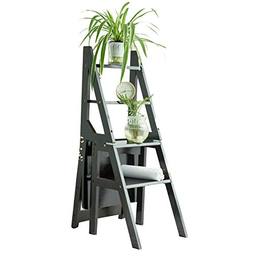 HX Multifunktions-Tritthocker Klappstuhl Retro-Bambus-Klapp-Rutschfeste Kletterregal Flower Stand Dual-Use A+ (Farbe : B)