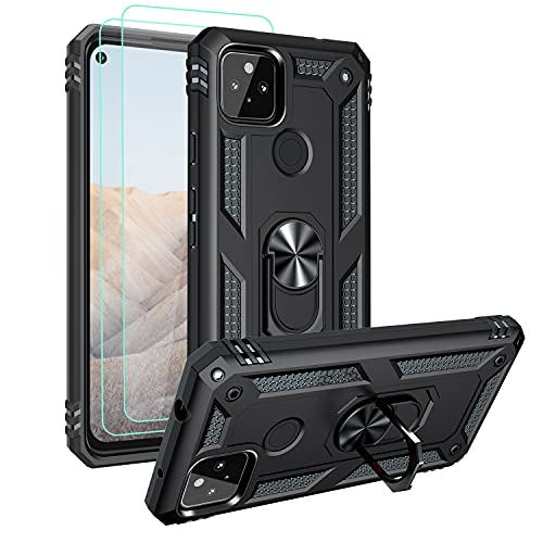 Androgate Designed for Google Pixel 5A Case with HD Screen Protectors, Military-Grade Metal Ring Holder Kickstand 15ft Drop Tested Shockproof Cover Case for Pixel 5A 5G Black