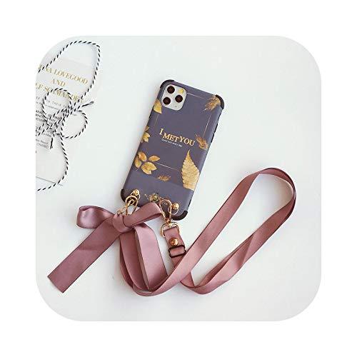 Funda para iPhone 12 Mini 12Pro Max, diseño de flores, correa para el cuello, para iPhone 11 Pro Xs Max Xr X 8 7 6S 6 Plus SE2-púrpura oscuro para iPhone 11Pro Max
