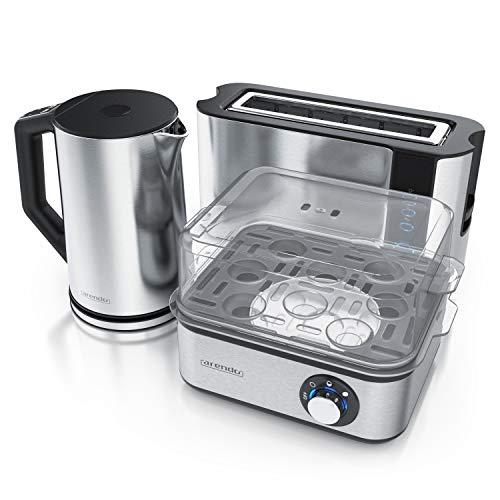 Arendo - Edelstahl Wasserkocher 1,5 Liter mit Temperaturauswahl + Arendo Edelstahl Toaster Langschlitz mit Brötchenaufsatz + Eierkocher 8 fach - Wasserkocher Doppelwand Design - Küchen Set - Silber