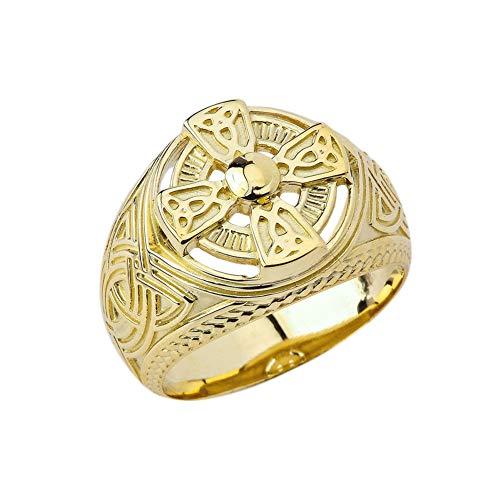 Modern Solid 14k Yellow Gold Men's Maltese Cross Celtic Trinity Knot Ring (Size 13)