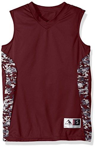 Augusta Sportswear Boys Hook Shot Reversible Jersey, Maroon/Maroon Digi, Medium