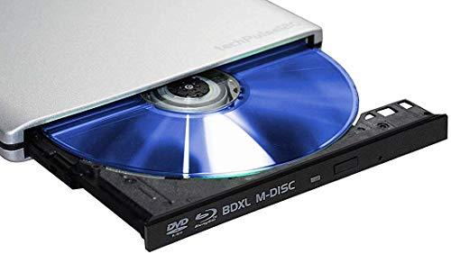 techPulse120 USB 3.0 3D Externer Blu-Ray Brenner Burner M-Disc BDXL Superdrive Blueray Rom Laufwerk BD DVD CD Slim für Computer Notebook Ultrabook Windows MacOS Apple iMac MacBook Pro Air Alu Silber