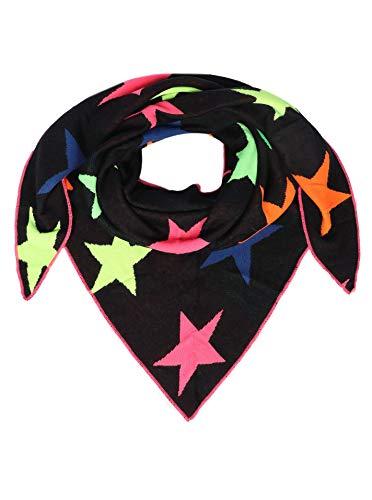 Zwillingsherz Dreieckstuch aus Baumwolle - Hochwertiger Schal mit Neon Sternen für Damen Jungen Mädchen - Uni - XXL Hals-Tuch und Damenschal - Strick-Waren - für Herbst Frühjahr Sommer navy