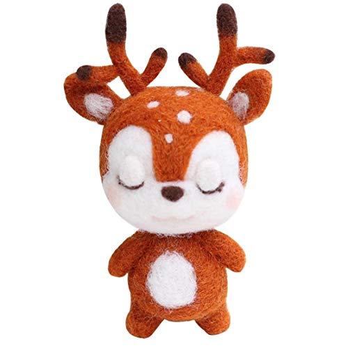 Heall DIY Filzwolle Paket Nadelfilzen Kit Puppenherstellung Supplies Tiere für Anfänger 2 PCS Sika Deer Bürobedarf