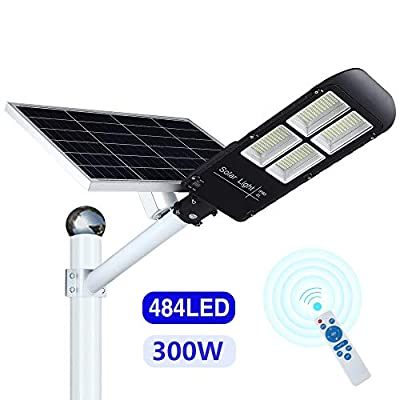 300w Solar Street Light Outdoor Dusk to Dawn, Flood Lights with Remote Control, 486 LEDs, Super Bright, Waterproof Security LED Pole Light for Yard, Garden, Pathway (Mounting Brackets Included)