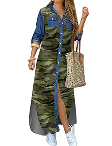 Dam elegant tryck lång skjorta klänning slag hals långärmad knapp ledig lös strand maxiklänning