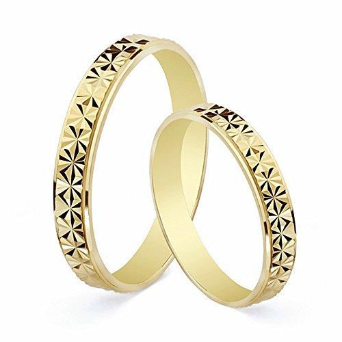 Alianza oro 18k tallada diamantada 3mm. [AA1866GR] - Personalizable - GRABACIÓN INCLUIDA EN EL PRECIO