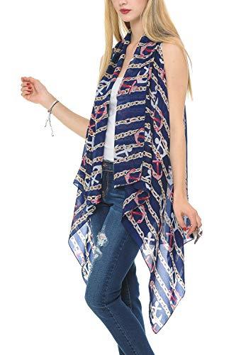 Top Anchor Navy Blue Nautical Theme Fashion Crepe Sheer Casual Dress Boho Open Front Chiffon Wrap Scarf Vest Comono Kamono Kimona for Teen Girl Women Trendy Easter Basket Filler 2021