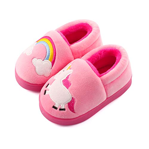 ESTAMICO Girls Plush Warm Slippers Cute Animal Kids Winter Indoor Outdoor House Shoes, Pink 7-8 Toddler