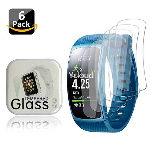 Ycloud [6 Stück PET Schutzfolie Bildschirmschutzfolie für Samsung Gear Fit 2 Smartwatch HD klar Flexible Folie mit Anti-Kratzer Blasenfrei
