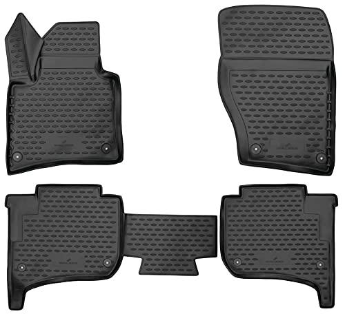 Walser XTR Gummifußmatten kompatibel mit VW Touareg II, Zweizonen-Klimaanlage Baujahr 2010-2018, passgenaue Auto Gummimatten, Autofußmatten Gummi