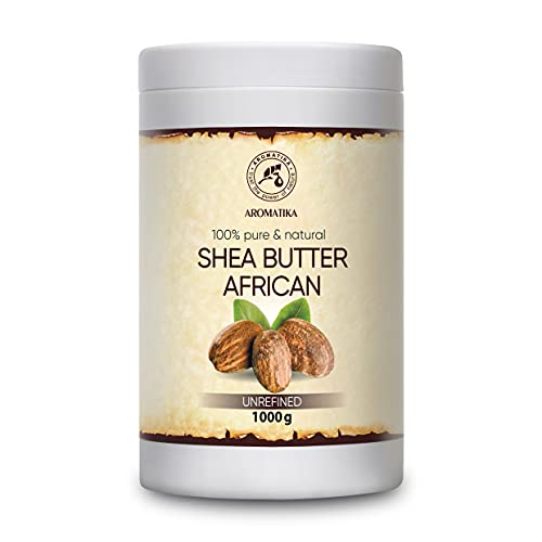 Beurre de Karité 1000g - 100% Pur & Naturel - Beurre de Butyrospermum Parkii - Shea Butter Africain -Ghana- Pressé À Froid - Non Raffiné - Idéal pour les Cheveux - Peau - Visage - Soin du Corps