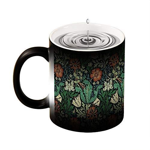 Magic Mug Heat Sensitive, William Morris Compton Floral Art Nouveau Pattern Funny Color Changing Coffee Mug Cup, 11 OZ