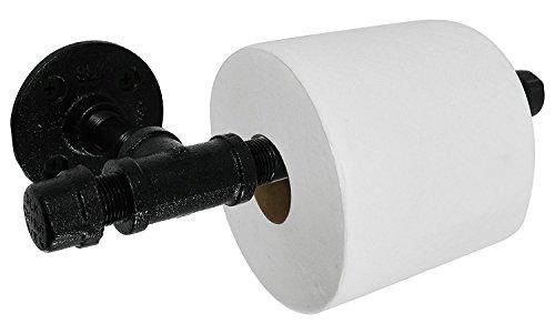 Baba Rustikal Industrie Toilettenpapierhalter von Rohr Decor | Schwerlast DIY Stil, Wandmontage Kit, modernes Chic galvanisch schwarz Eisen Finish, kommerziellen Grade Metall, Öl + Rost kostenlosen