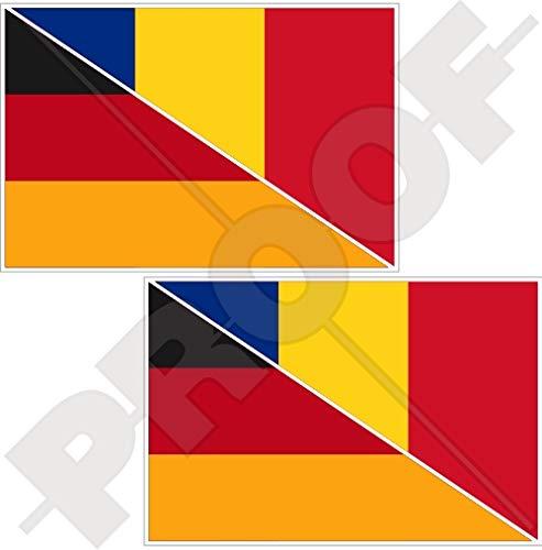 Duitsland-Roemenië Duits-Roemeense vlag 100mm Vinyl Bumper Sticker Sticker Decal x2