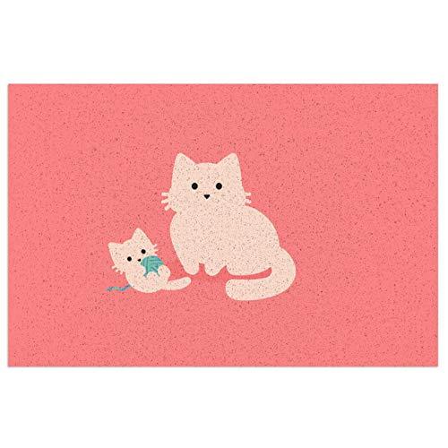 Cat Family - Felpudo de buceo, felpudo de bienvenida, felpudo de interior, antideslizante, alfombra lavable para porche frontal, cocina, entrada, 40 x 60 cm