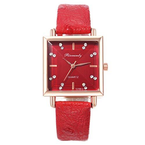 Uhr Armbanduhren Männer Damenuhren Hansee Surface Digitaluhr Ladies Platz Kreative Sekundenzeiger Quarzuhr Watch Uhren Herrenuhr(Rot)