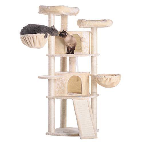 Hey-brother 134cm Kratzbaum Katzenbaum, Katzenmöbel mit Sisal-Kratzbäumen, Katzenkratzbaum mit 2 Katzenhöhlen 2 Aussichtsplattformen und 2 Korb (Beige)