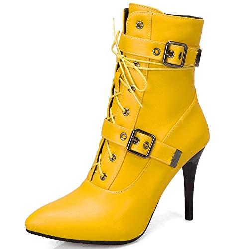 cynllio Sexy Stiletto High Heels 9 cm Schlangenhaut-Stiefeletten für Frauen zum Schnüren, spitzer Zehenbereich, Kleid mit kurzen Stiefeln, Gelb - 3 Gelb - Größe: 39.5 EU