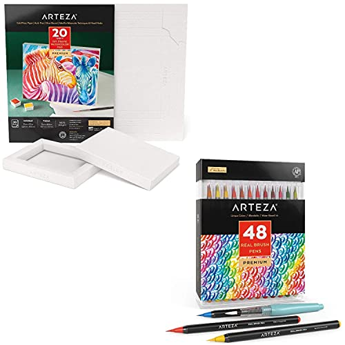 Arteza Foldable Watercolor Canvas and Real Brush Pens Bundle, Drawing Art Supplies for Artist, Hobby Painters & Beginners