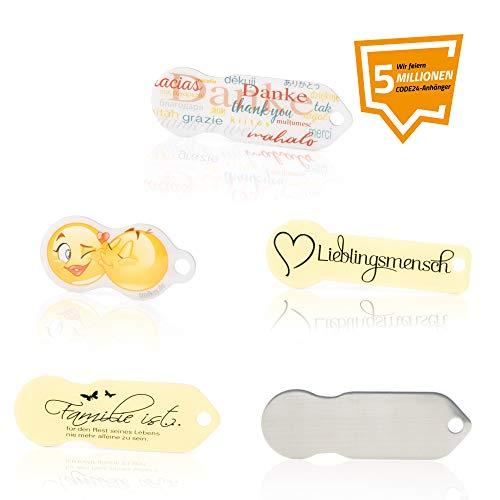 Code24 5er Set Einkaufswagenlöser, Schlüsselanhänger mit Einkaufschip & Schlüsselfinder, inkl. Registriercode für Schlüsselfundservice, multifunktionale Einkaufswagenchips, Key-Finder