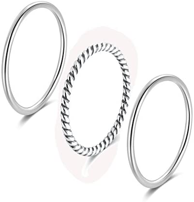 SILBERTALE 925 Sterling Silver Stacking Minimalist Midi Above Knuckle Pinky Finger Rings Bands product image