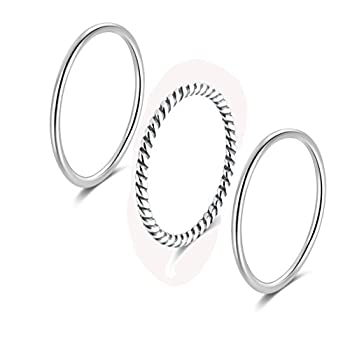 SILBERTALE 925 Sterling Silver Stacking Minimalist Midi Above Knuckle Pinky Finger Rings Bands 3pcs Set Size 2.5