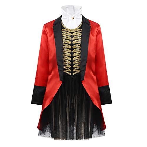Agoky Disfraz de Domadora de Circo para Niña Capa Roja de Mago Chaqueta con Falda Cosplay 4Pcs para Fiesta Halloween Carnaval Navidad Dress Up
