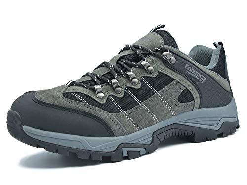 Knixmax Wanderschuhe Wasserdicht Trekkingschuhe Herren Damen Sport Outdoor Trekking-& Wanderhalbschuhe Wanderstiefel Dämpfung Sneaker Schuhe Frauen Grau 42 EU