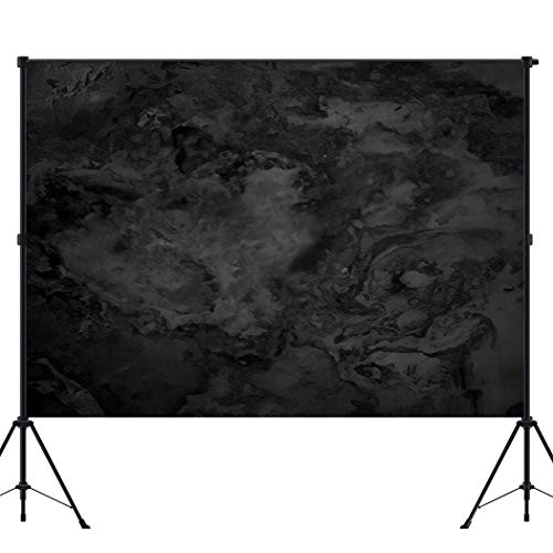 BEEQY Photography Backdrop Granite Black Marble Concrete Rock Slab Vinyl Photo Background Photography Booth Props Wall Decoration, 8 x 8FT