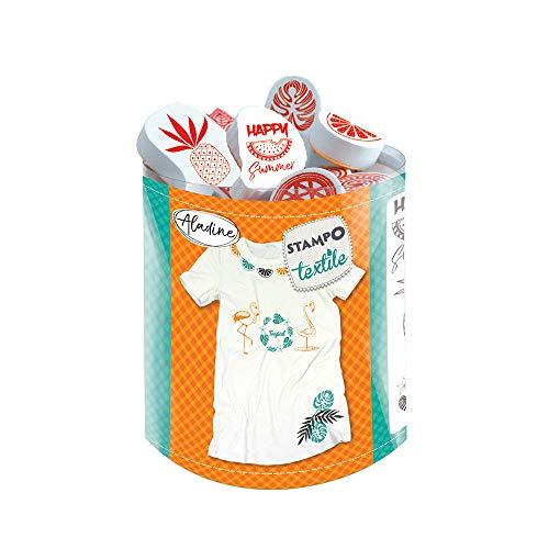 Aladine - Stampo Textile Tropical - Kit de 14 Tampons pour Tissu - Encreur Inclus - Fixation au Fer à Repasser - Lavable en Machine - Motifs Flamant Rose, Ananas, Palmier
